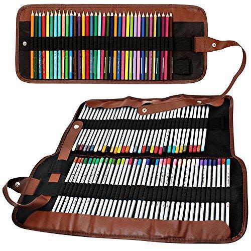 Senhai Matite colorate Organizzatore, 48 Slot + 72 Slot della tela di canapa sacchetto della...