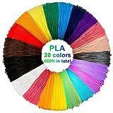 3D Stift Filament PLA, 20 Farben, je 10M – 3D Pen PLA Filament 1,75mm, 3D Stift Farben Set für...