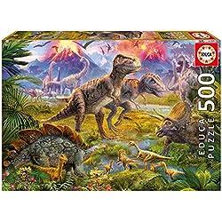 Puzzles Educa - Encuentro de dinosaurios, puzzle de 500 piezas (15969)