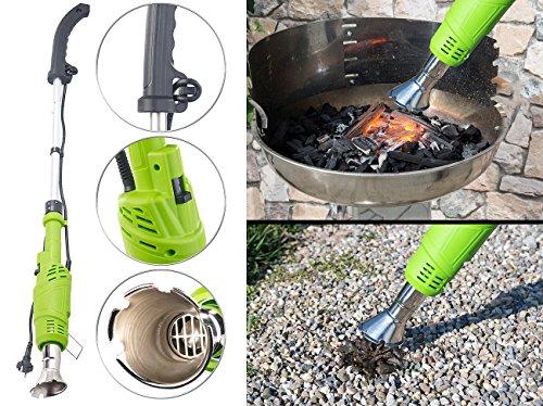 Royal Gardineer Unkrautbrenner: Elektrischer 3in1-Unkrautvernichter, 2 Hitzestufen bis 600 °C, 2.000 W (Elektrische Unkraut Vernichter)