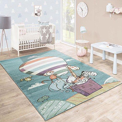 Tappeto per Bambini Stanza dei Giochi Caos Animali Zoo Pallone Giocoso Colorato, Dimensione:120x170...