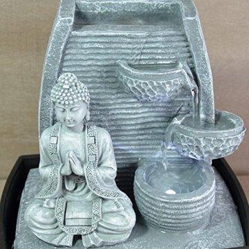 Zen'Light Fontaine d'Intérieur Mur Bouddha Méditation, Plateado, 20 x 15 x 24 cm 6