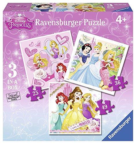 Ravensburger 07008 - Disney Princess 3 Puzzle Progressivi, 25/36/49 Pezzi