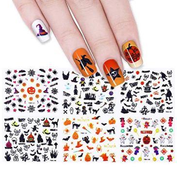Goldenlight 48 Feuilles 3D Nail Art Stickers Halloween Citrouille Fantôme Sorcière Araignée Chauve-souris manucure transfert d'adhésif Autocollants Décor