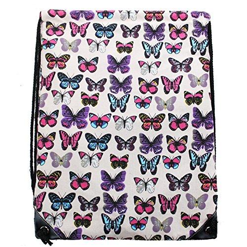 Diseño de Chicas Miss Bolsa con Cordón Para Deportes Mochila Lulu Traje de Neopreno Para Mujer Diseño de Mariposas