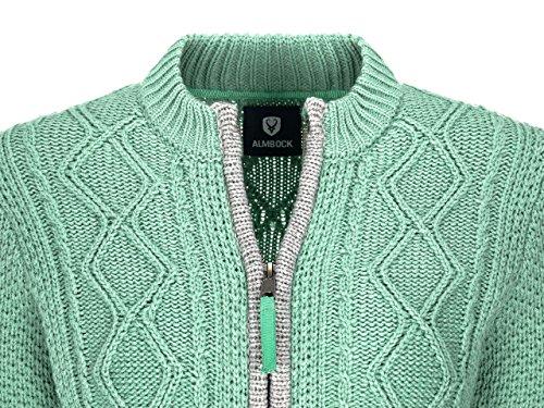 Almbock Strickjacke Reißverschluss Damen | Hochwertige Trachten Strickjacke | Trachtenjacke Damen aus Feiner Wolle in Vielen Farben von Gr. S - XXL (Mintgrün, S) - 5