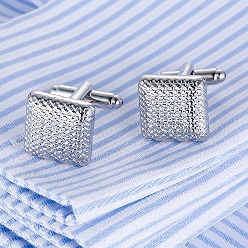 Venta caliente calidad láser Gemelos 1modelo Hombres Francés Manguito de excelente cufflings plata puños