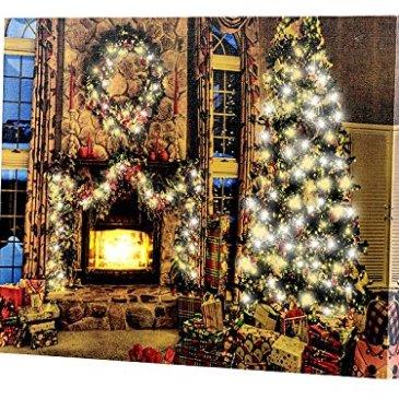 infactory Tableau Lumineux à LED lumière vacillante Magie de Noël 40 x 30 cm