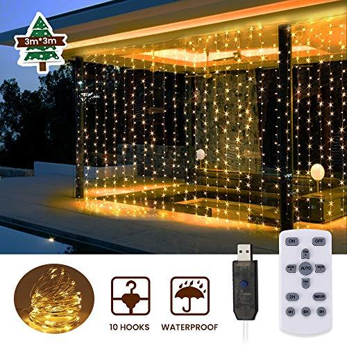 Catena Luminosa, SOLMORE Tenda Luminosa 3mx6m USB Catena di Luci 600 LEDs con Telecomando con Timer...