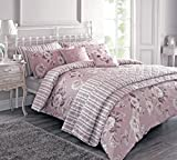 Kayleigh Vintage Floral And Stripe Single Duvet Cover Set In Mulberry By Dreams And Drapes by Dreams 'n' Drapes