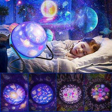 Veilleuse ciel étoilé, veilleuse rotative à 360 °, 6 combinaisons à gradation, 3 réglages de luminosité, lampe de projection romantique pour décor d'anniversaire