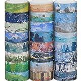 24 rollos cinta adhesiva decorativa washi tape, diferentes estilos - Cinta de carrocero para álbumes de recortes