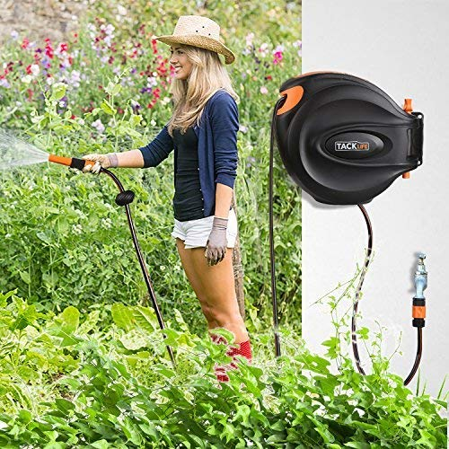 The TACKLIFE 30+2m Wall-Mounted Automatic Auto Hose is another cheaper alternative to our best pick. This one is marketed as suitable for multiple uses including garden watering, car washing, ground cleaning, pet shower and more.