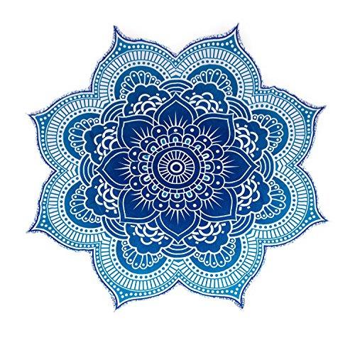 """Colección única por Rawyal Crafts tamaño grande redondo de flor de loto Mandala tapiz, indio Hippy Star Mandala de flores de 100% algodón al aire libre playa Roundie, flores diseño de círculos/forma 72"""""""
