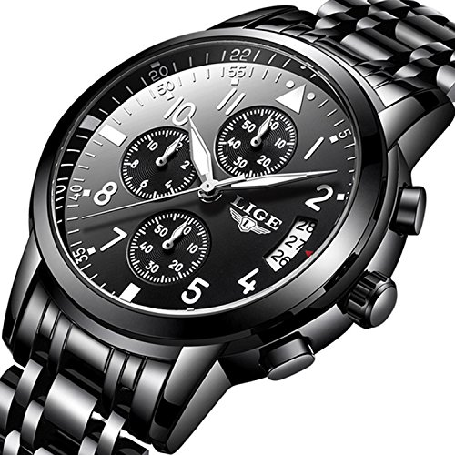 Herren Luxus Business Kleid Uhr mit Chronograph Sport Militär Quarzuhr Edelstahl Band Schwarz Analog Armbanduhr Wasserdicht 30 M