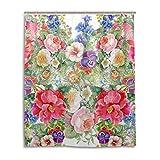Cortina de ducha de baño 60x 72inch, Vintage elegante Gorgeous Flores, tela de poliéster a prueba de moho cortina de baño