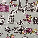 OPEN BUY Tela de algodon retro de lino Paris para tapizar sillas descalzadoras para manualidades, costura cojines guirnaldas caravanas escaparates cortinas 1 m x 50 cm
