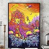 Gulin Rick And Morty Terza Stagione Silk Poster Painting, Adatto per arredo per la casa dell'ufficio della caffetteria del Negozio di Libri