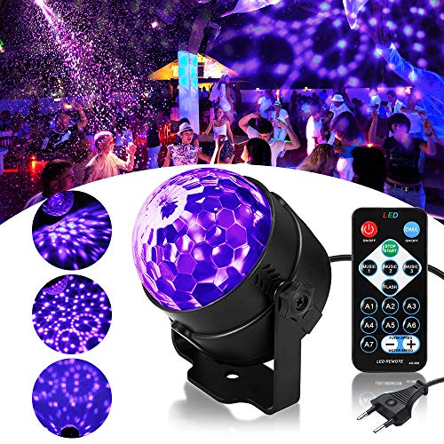 Luce Discoteca UV, SOLMORE Luci Discoteca LED Black Light Mini Luci da Palco Luce Effetto Fase...