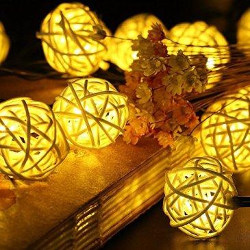 SunJas Guirlandes Lumineuses Solaire Rotin Guirlande Pour Noël, Mariage, Patry, Decoration Maison 20 LEDs 4,8 mètres / 30 LEDs 6 mètres (30 LEDs blanc chaud)