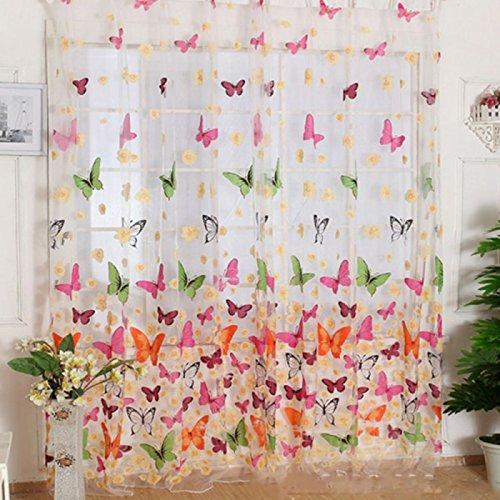 2paneles ventana Screening cortina Drape con grandes mariposas patrón Floral gasa tul para bahía ventana baño ducha habitación separador (39x 78cm/Panel)