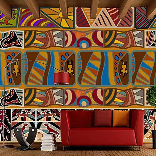carta da parati retrò, murales etnici geometrici con animali geometrici, soggiorno camera da letto...