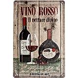 Nostalgic-Art - Placa metálica Decorativa, diseño de Vino Rosso