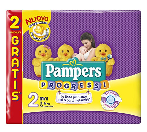 Pampers Progressi Pannolini Mini, Taglia 2 (3-6 kg), 30 Pannolini