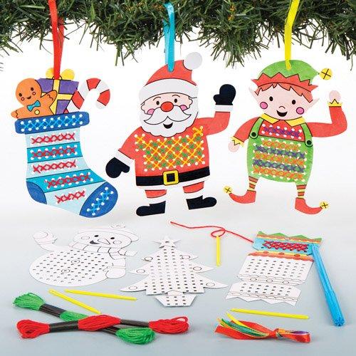 Kit Decorazioni Natalizie Ricamate A Punto Croce Per Bambini