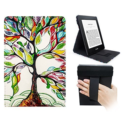 WALNEW Stand Cover for Kindle Paperwhite - Magnetic Auto Sleep/Wake Cover Vertical Flip Case with Hand Strap for All-New Amazon Kindle Paperwhite