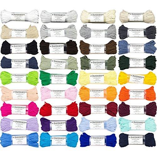 e-kurzwaren Baumwollkordel 5mm/50m Schnur Dekoration Baumwolle 38 Farben