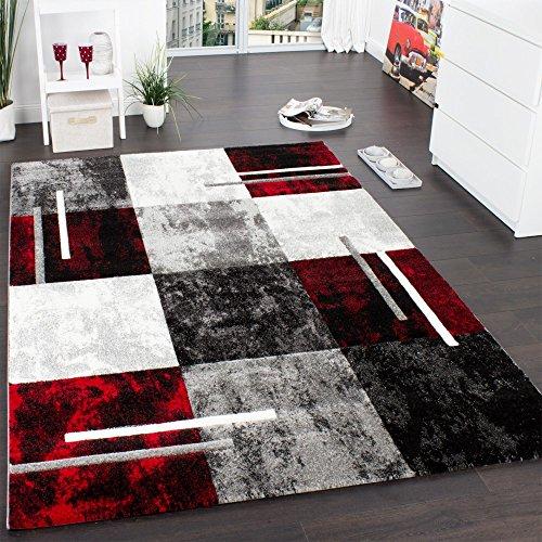 Paco Home Tappeto Di Design Moderno Orlo A Quadri Effetto Marmo Rosso Grigio Crema Nero,...