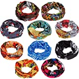 Generic Bandana Headwear Magic Scarf for Men and Women (Multicolour, Free Size) - 10 Pcs