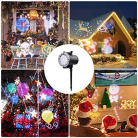Holiday-Projector-Viugreum-LED-Christmas-Lights-2018-Latest-Super-Bright-12-Slides-LED-Landscape-Lights-con-proyector-de-control-remoto-Show-de-luces-para-Halloween-Christmas-Holiday-Party