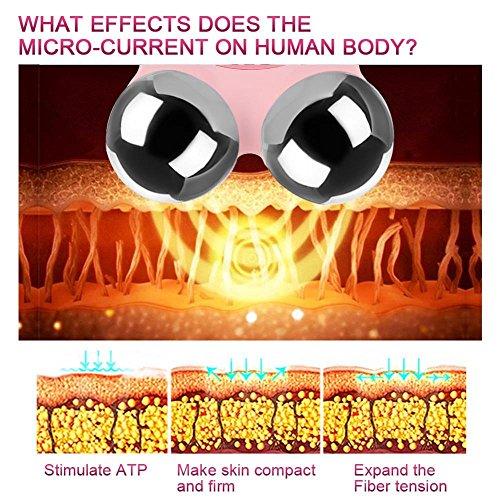Elektrische Micro-current Vibration Y Shape 3D Roller Face Massager Lifting Tighten Device, Facelift Massagegerät Faltenschwellung Entfernung Hautpflege Gerät - 3