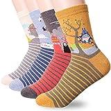 Happytree, calcetines para mujer, 3 - 6 unidades, divertidos y geniales gatos, perros, diseño de animales dulces, buena idea para regalo, talla única Multicolor Miyazaki Hayao 4 Pairs Talla única
