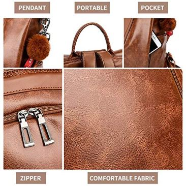 Paradox Girl's Water Resistant Vegan Leather Anti-Theft School Shoulder Backpack Bag (Black) 7