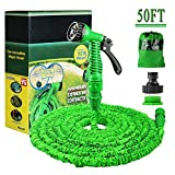 Running Bulls 50FT Expanding Garden Water Hose Pipe with 7 Function Spray Gun Expandable Flexible Magic Hose Anti-leakage Lightweight Easy Storage (Green)