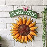 SOEKAVIA 30*38.5cm Vintage Hanging Butterfly Sunflower Welcome Sign Sunflower Decor for Door Hanging Home Decor