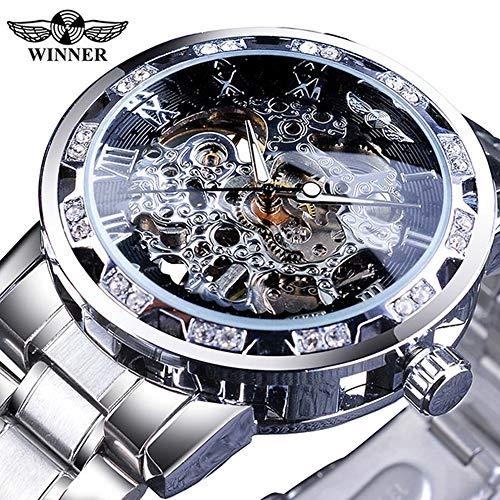 Festnight Winner Men Automatic Watch Orologio Diamond Display Luminoso Mani Movimento a Ingranaggi Retro Meccanico Scheletro Orologi Luxury Casual Business Orologio da Polso