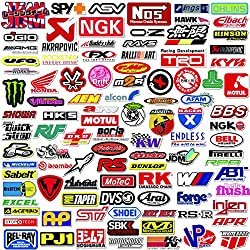 Q-Window Paquete de Pegatinas Serie Coche y Moto Modified Brand Logo (103 pcs). Calcomanías Vinilo para Laptop, Coche, Moto, Monopatín, Bicicleta, Equipaje, iPhone. Stickers Graffiti- Impermeable