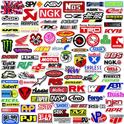 Q-Window Paquete de Pegatinas Serie Coche y Moto Modified Brand Logo (103 pcs). Calcomanías Vinilo para Laptop, Coche, Moto, Monopatín, Bicicleta, Equipaje, iPhone. Stickers Graffiti- Impermeable