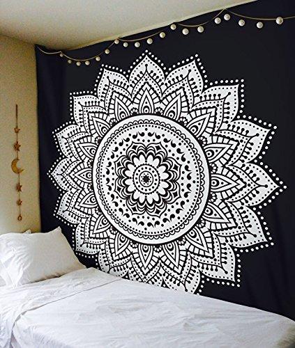 Esclusivo 'nero bianco ombre Tapestry by Raajsee' ombre biancheria da letto, motivo: Mandala,...