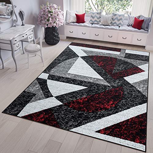 TAPISO Fire Tappeto Camera Salotto Moderno Disegno Astrazione Geometrica Colore Nero Rosso Grigio...