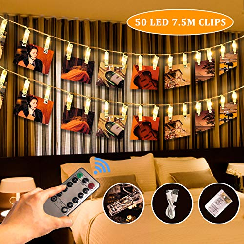 SanGlory 50 LED Foto Clip Luci di Stringa Remoto, 7,5M USB Alimentazione Luci LED Natale Batteria,...