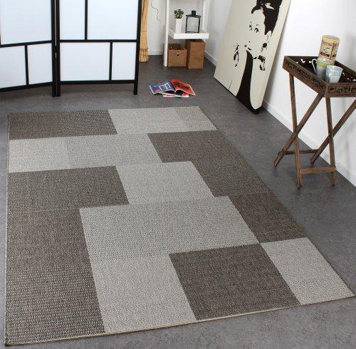 Paco Home Tappeto Modern Tessuto Liscio A Quadri Sisal Designer Tappeto tonalità Grigio,...