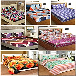 STOP N SHOPP Super Home Combo of 7 Bedsheets with 14 Pillow Covers