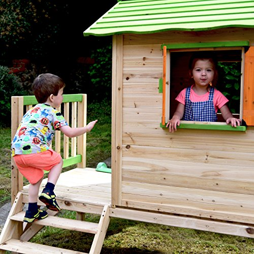 Chestnut Wooden Painted Tower Playhouse with Slide, Easy Assembly Childrens Play House 7 x 6 feet