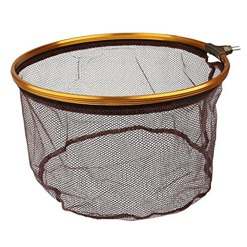 MagiDeal Pieghevole Pesca Guadino in Acciaio Inox Atterraggio Rete da Pesca Carpa Rotondo Forma- caffè - 13.7 Pollici