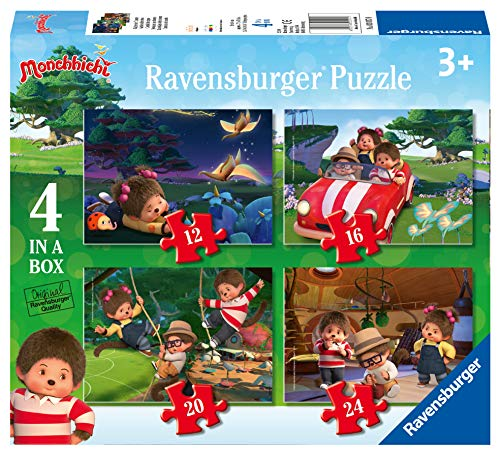 Ravensburger- Monchhichi-4 in a Box-4 Puzzle da 12, 16, 20, 24 Pezzi, Multicolore, 3017